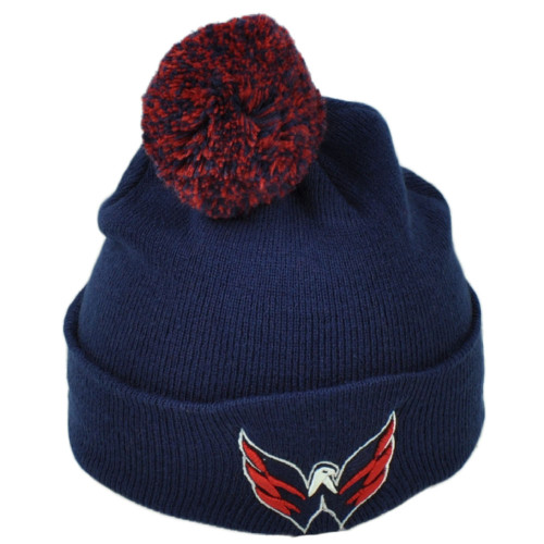 NHL Zephyr Washington Capitals Pom Pom Cuffed Knit Beanie Navy Blue Hat Winter