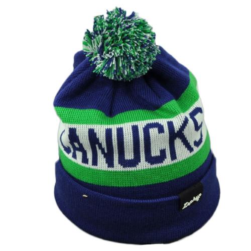 NHL Zephyr Vancouver Canucks Knit Beanie Pom Pom Striped Cuffed Blue White