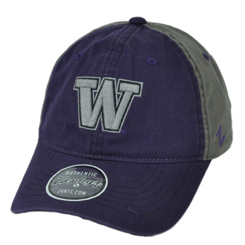 NCAA Zephyr Washington Huskies Purple Gray Relaxed Hat Cap Curved Bill Slouch