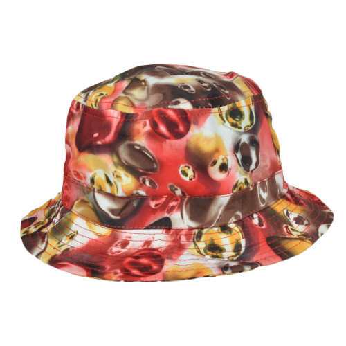 Brown Red Circles Pattern Design Sun Bucket One Size Hat Crusher Beach