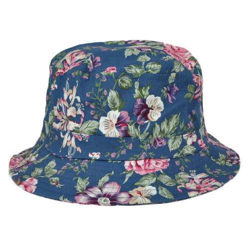 Blue Floral Flower Pattern Design Sun Bucket One Size Fits Most Hat Beach Crusher