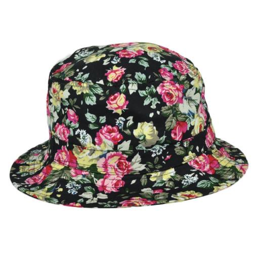Black Floral Flower Blank Pattern Design Sun Bucket One Size Hat Crusher Beach