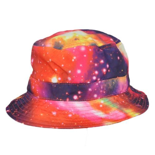 Red Galaxy Space Stars Pattern Design Sun Bucket One Size Hat Crusher Beach