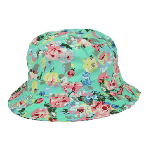 Turquoise Roses Floral Flower Pattern Design Bucket One Size Hat Crusher Beach