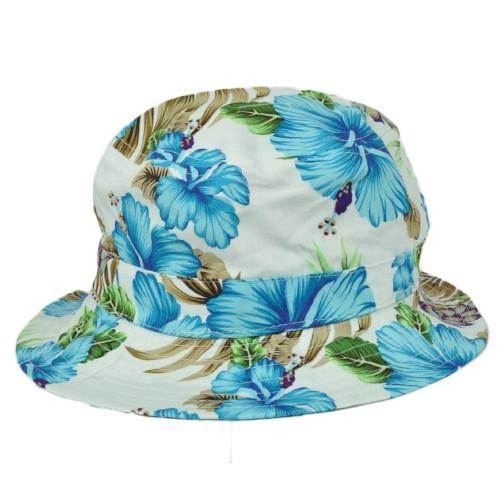 White Blue Tropical Hawaiian Floral Pattern Design Sun Bucket One Size Beach Hat