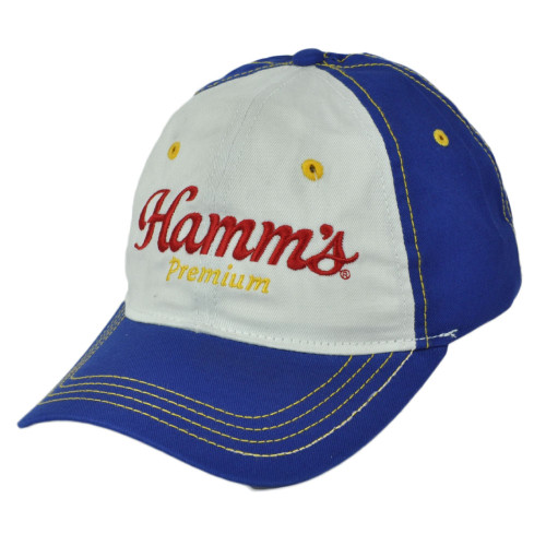 Hamms Premium Beer Brewing Blue White Relaxed Garment Hat Cap Adjustable
