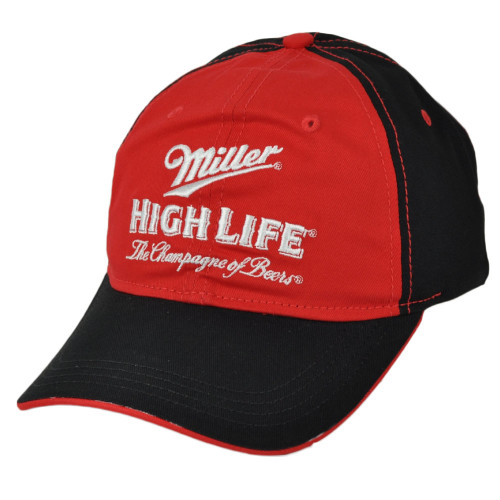 Miller High Life Champagne of Beers Red Black Hat Cap Curved Bill Adjustable