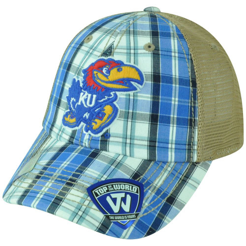 NCAA Kansas Jayhawks Avery 2 Tone Plaid Mesh Trucker Snapback Adjustable Hat Cap