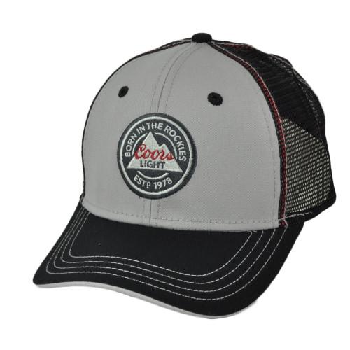 Coors Light Mesh Trucker Hat Cap Snapback Curved Bill Gray Black Beer Est 1978