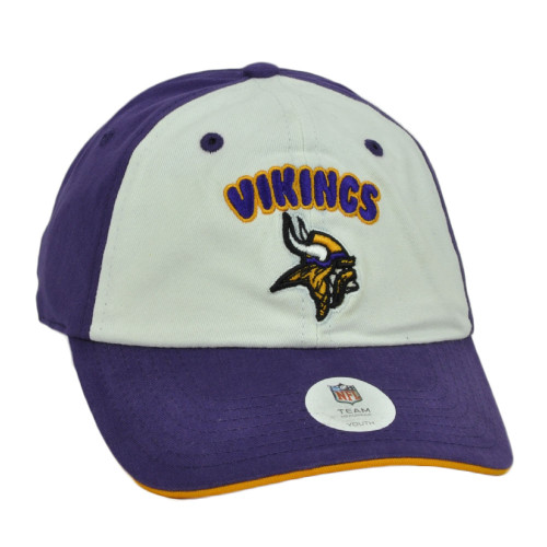 NFL Minnesota Vikings Purple White Two Tone Relaxed Hat Cap Youth Kids Adjustable