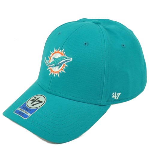 NFL '47 Brand Miami Dolphins MVP Adjustable Kids Hat Cap Curved Bill Turqouise