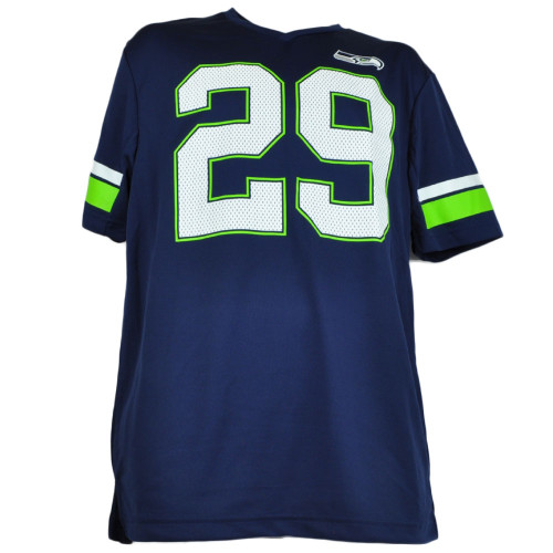 NFL Seattle Seahawks Game Jersey Tshirt V Neck Navy Blue Mens Adult Short Sleeve