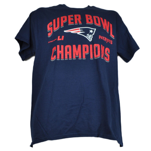 NFL New England Patriots Super Bowl LI Champions Navy Tshirt Tee Mens Adult