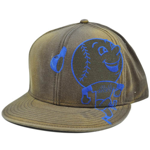 MLB New York Mets Faded Brown Blu American Needle Fitted 7 3/8 Flat Bill Hat Cap