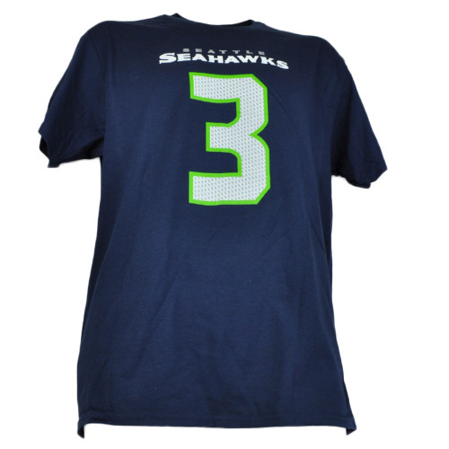 NFL Seattle Seahawks 3 Russell Wilson Navy Tshirt Tee Short Sleeve Mens Adult
