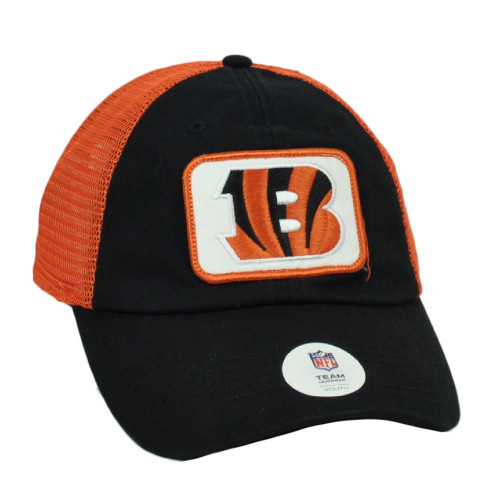 NFL Cincinnati Bengals Youth Kids Relaxed Black Orange Snapback Hat Cap Mesh