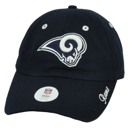 NFL Los Angeles Rams Womens Ladies Hat Cap Navy Blue Relaxed Slouch Curved Bill