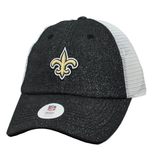 NFL New Orleans Saints Glitter Front Women Ladies Hat Cap Relaxed Mesh Snapback