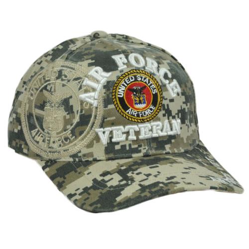 U.S Air Force Veteran Vet Hat Cap Curved Bill Adjustable Digital Camouflage Camo