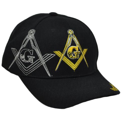 Mason Freemasory Organisation Hat Black Cap Curved Bill Adjustable Masonry