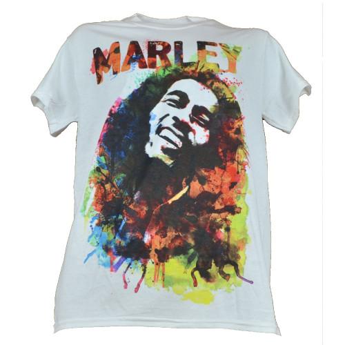 Bob Marley Reggae Tshirt White Tee Mens Adult Music Concert Water Color Splash