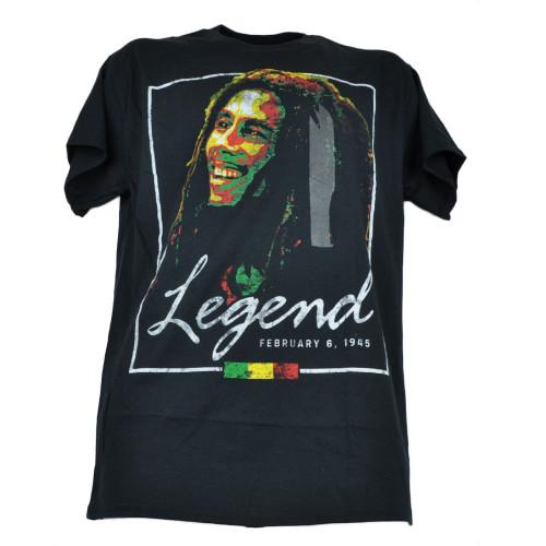 Bob Marley Legend February 6 1945 Smile Tshirt Black Tee Mens Adult Music