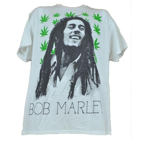 Bob Marley Reggae Weed Leaf Marijuana Tshirt White Tee Mens Adult Music Concert