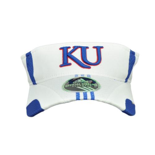 NCAA Kansas Jayhawks White Blue Curved Bill Sun Visor Hat Adjustable KU