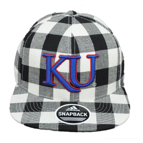 NCAA Adidas Kansas Jayhawks 397VZ Checkered White Flat Bill Snapback Hat Cap