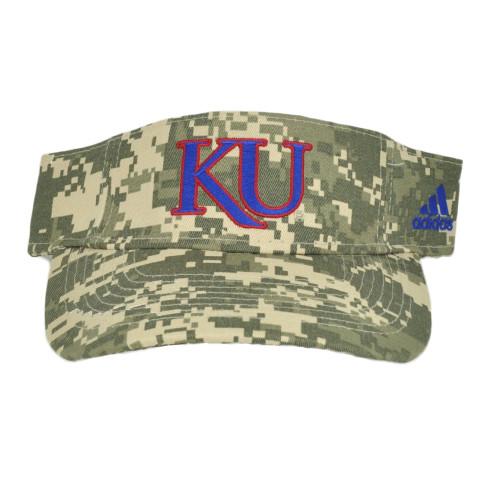 NCAA Adidas Kansas Jayhawks W761Z Digital Camo Visor Curved Bill Adjustable Hat