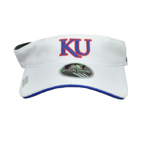 NCAA Kansas Jayhawks W751Z Spring Game Side Line White Sun Visor Hat Adjustable