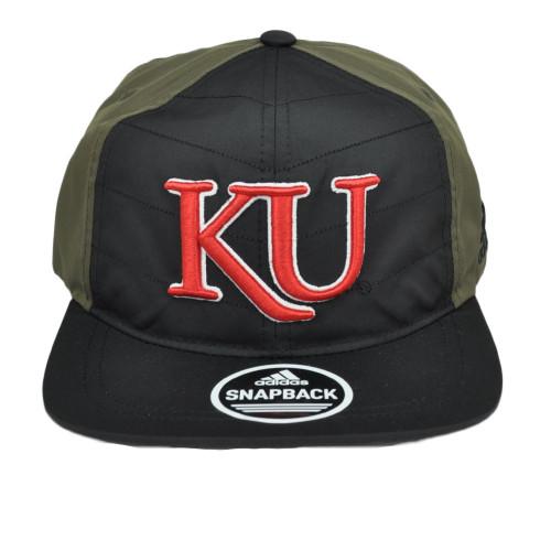 NCAA Adidas Kansas Jayhawks 4398VZ 2 Tone Green Black Snapback Flat Bill Hat Cap