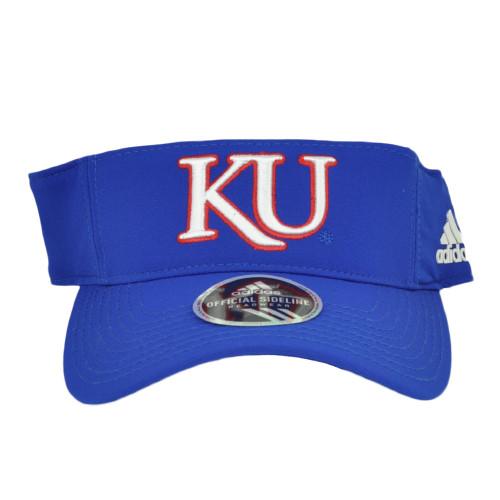 NCAA Kansas Jayhawks W736Z Blue Curved Bill Sun Visor Hat Adjustable Adidas