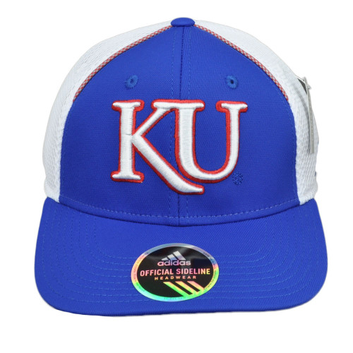 NCAA Adidas Kansas Jayhawks 347AZ Game Structure Hat Cap Adjustable Hat Cap Blue