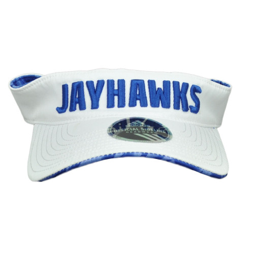 NCAA Kansas Jayhawks W737Z White Curved Bill Adidas Visor Hat Headgear Adjustable
