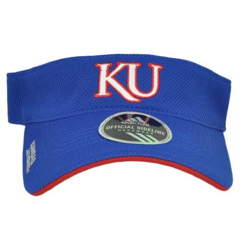 NCAA Adidas Kansas Jayhawks Curved Bill Blue Sun Visor Hat Adjustable