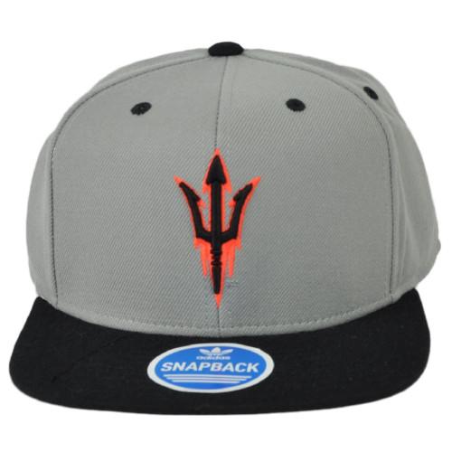 NCAA Adidas Arizona State Sun Devils NK56Z Gray Neon Logo Flat Bill Snapback Hat