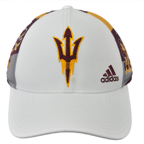 NCAA Adidas Arizona State Sun Devils VS72Z White Mesh Snapback Hat Cap Structure