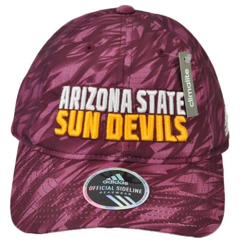 NCAA Adidas Arizona State Sun Devils EW37Z Burgundy Snapback Hat Cap Mesh