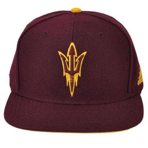 NCAA Adidas Arizona State Sun Devils VI95Z Burgundy Snapback Hat Cap Flat Bill