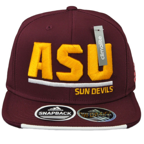 NCAA Adidas Arizona State Sun Devils VG64Z Snapback Burgundy Hat Cap Adjustable