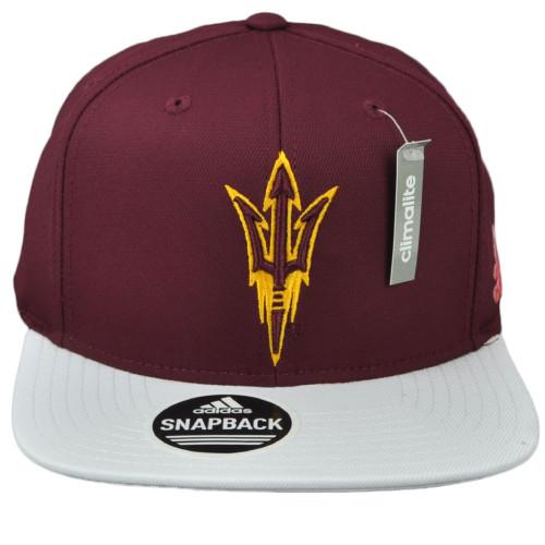 NCAA Adidas Arizona State Sun Devils VG66Z Flat Bill Burgundy White Snapback Hat