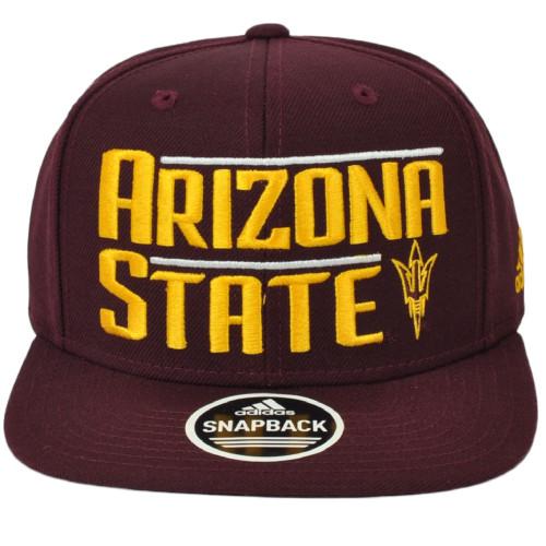 NCAA Adidas Arizona State Sun Devils VS80Z Burgundy Flat Bill Hat Cap Snapback