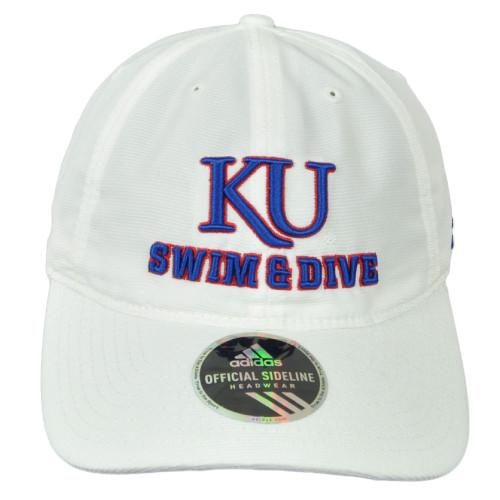 NCAA Adidas Kansas Jayhawks EE60Z Swim n Dive Relaxed White Hat Cap Adjustable