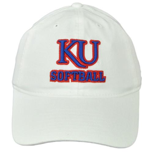 NCAA Adidas Kansas Jayhawks E2461 Softball Hat Cap Curved Bill White Relaxed