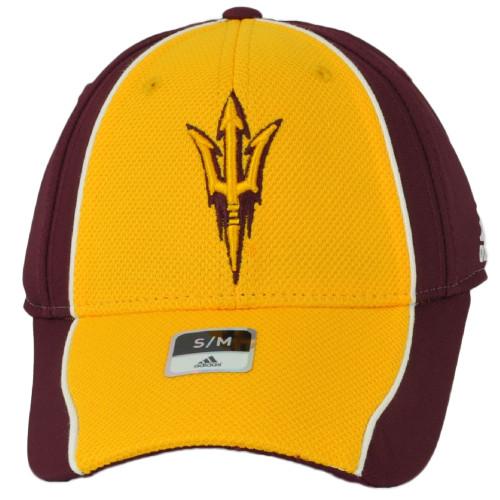 NCAA Adidas Arizona State Sun Devils M784Z Flex Fit Small Medium Hat Cap Yellow