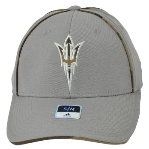 NCAA Adidas Arizona State Sun Devils M785Z Gray Flex Fit Small Medium Hat Cap