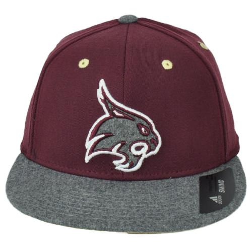 NCAA Adidas Texas State Bobcats M858Z Flat Bill Flex Fit Small Medium Hat Cap