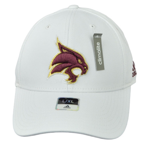 NCAA Adidas Texas State Bobcats M540Z White Flex Fit Large XLarge Hat Cap Stretc