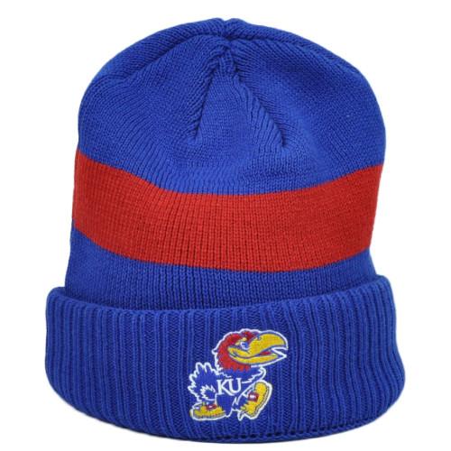 NCAA Adidas Kansas Jayhawks Cuffed Blue Blue Knit Beanie Winter Hat Striped